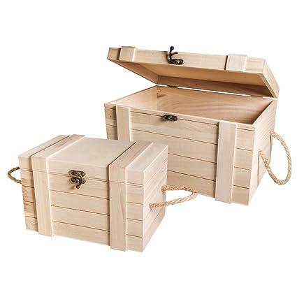 Rayher 62651000 Set contenitori in legno FSC, cassapanche, set bauli ...