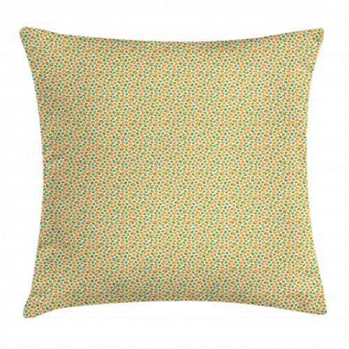 HFYZT Raspberry Throw Pillow Cushion Cover, Pattern with Hand-Drawn Juicy Savoury Raspberries Vegan Food, Decorative Square Accent Pillow Case, 18 X 18 Inches, Marigold Fern Green and White -