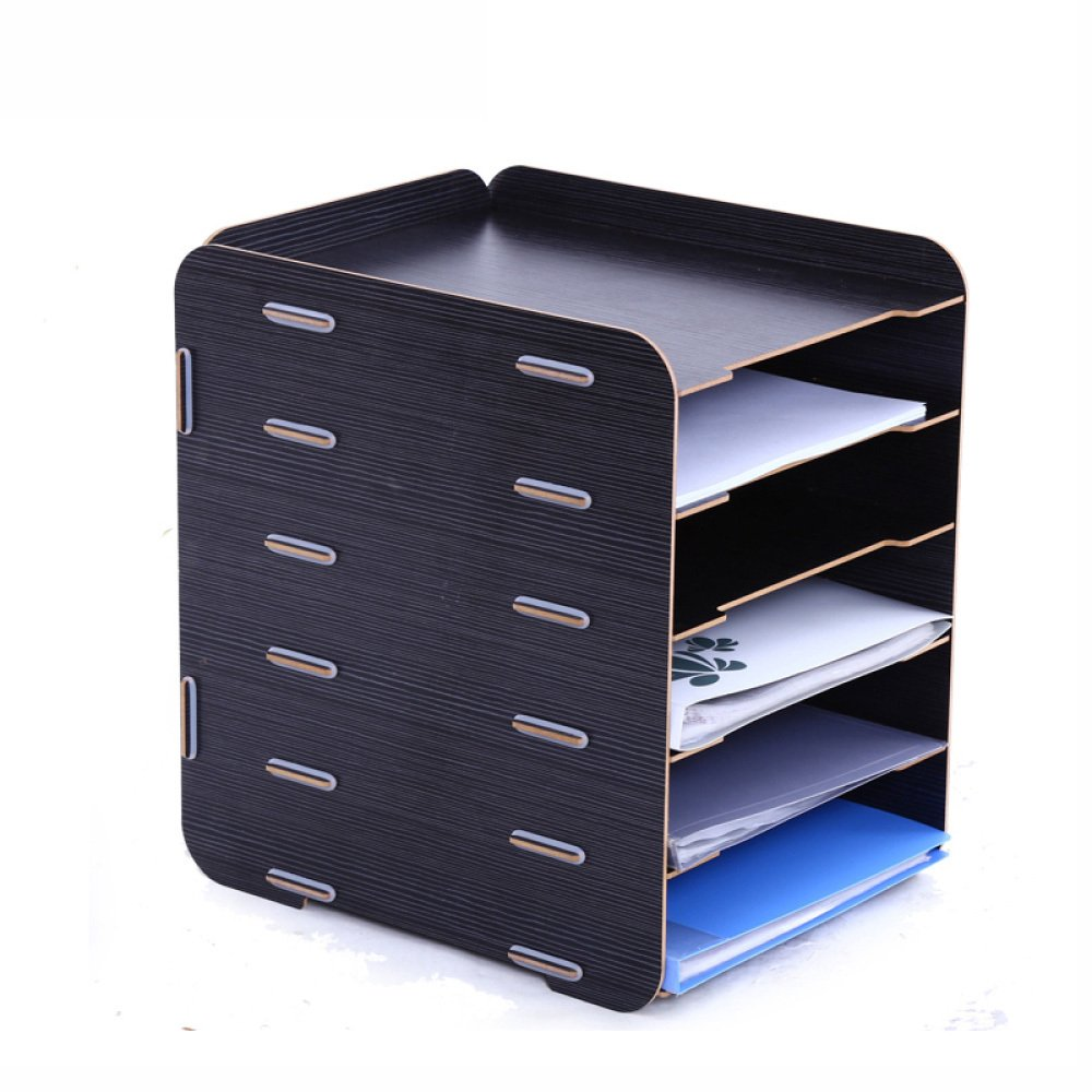 ZHXUANXUAN Bookcase File Holder Data Rack Desktop Wood Creative Office Multi-Shelf Storage Rack Office Supplies,A