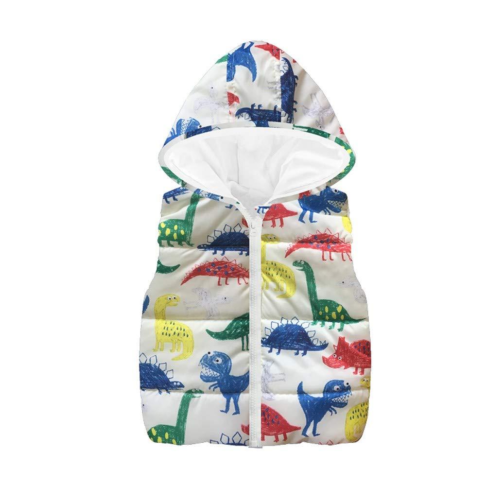 ASTV Baby Boy Girls Sleeveless Dinosaur Hooded Zipper Vest Warm Cotton Jacket