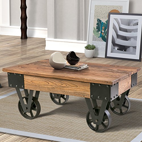 Coffee Table Wheels - Harper&Bright Designs WF036986 Solid Wood Coffee Metal Wheels, End Table/Living Room Set/Rustic Brown