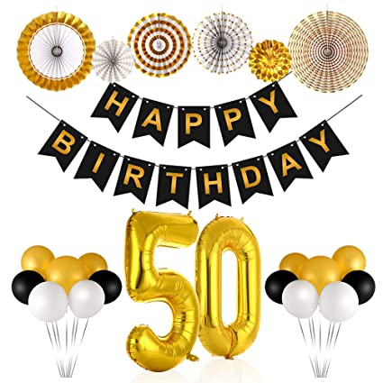 50th Birthday Decorations For Men And Women Party Supplies Include Gold Number 50 Mylar