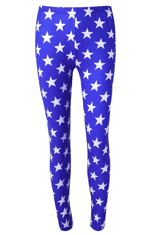 DREAGAL Women's Patriotic Super Hero Halloween Costume Spandex Leggings X-Large