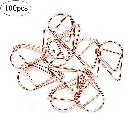 6 X metal en forma de corazón regalo de tarjeta de color oro Clips de papel clips para Decoraciones 30 mm