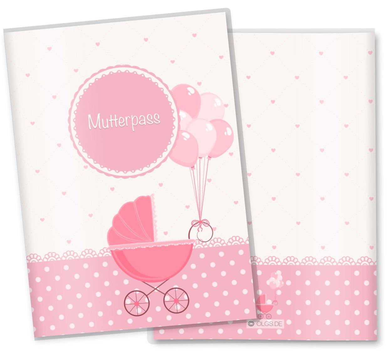 Couverture personnalisable avec des noms pour carnet de santé maternité - design rose avec des cœurs. Olgs Babyartikel