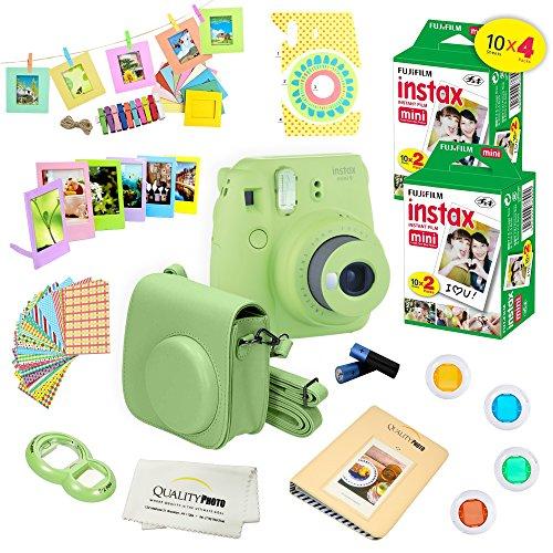 Fujifilm Instax Mini 9 Camera + Fuji INSTAX Instant Film (40 SHEETS) + 14 PC Instax Accessories kit Bundle – Lime Green