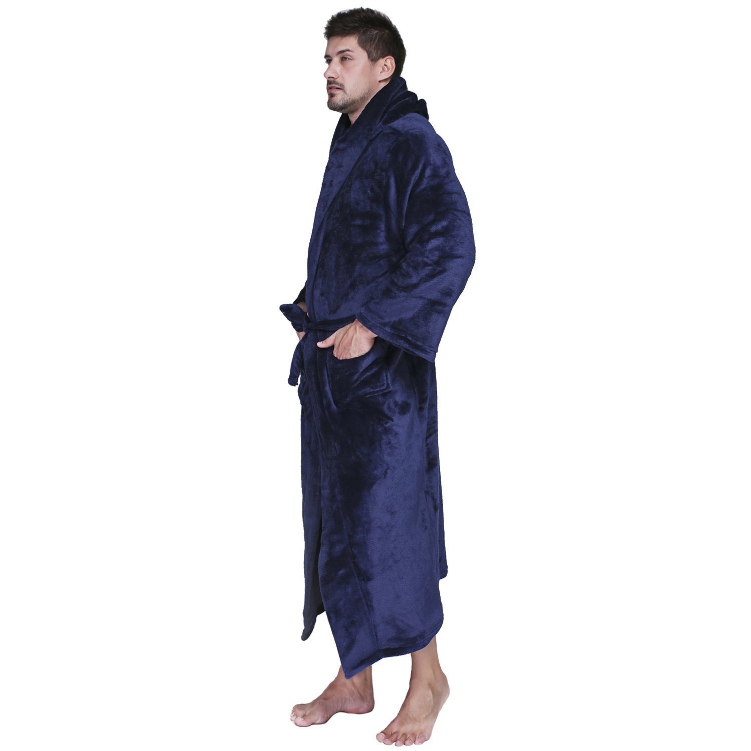 Cahayi Mens Bathrobe Plus Size Plush Flannel Hooded Robe Spa Hotel Collections