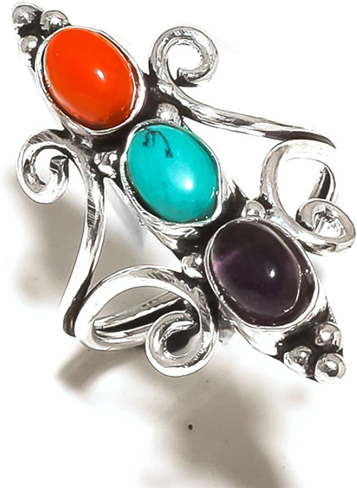 Red Coral Handmade Jewellry 925 Sterling Silver Plated 6 Grams Ring Size 8 US Sizable Blue Turquoise