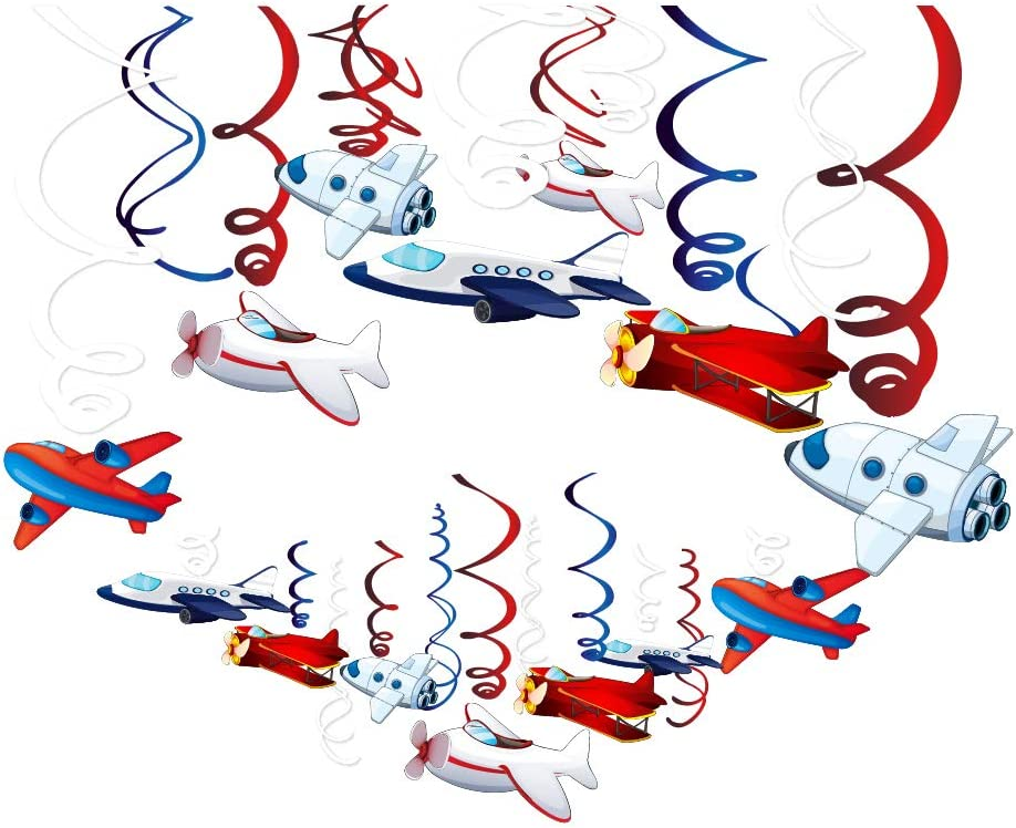 CC HOME Airplane Hanging Swirl Decoration Airplane Ceiling Streamer Decoration for Kids Boys Girls Birthday Party,Baby Shower (30Pack)