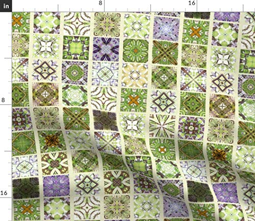 Spoonflower Purple Green Fabric - Cafe Tiles Italian Flooring Delft Tile Orchid Wisteria Vine Lavender by Wren Leyland Printed on Linen Cotton Canvas Ultra Fabric by The Yard ()
