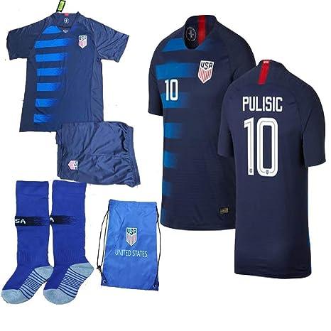 meet 3036c 3d53d USA Soccer Team Christian Pulisic Carli Lloyd Alex Morgan Replica Kid  Jersey Kit : Shirt, Short, Socks, Soccer Bag