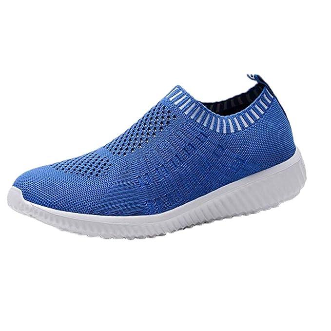Zapatillas Deportivas de Color sólido para Mujer Zapatillas de Trabajo Superficie de Malla Punto Transpirable cómodas Calzado Deportes Casuales Zapatos para ...