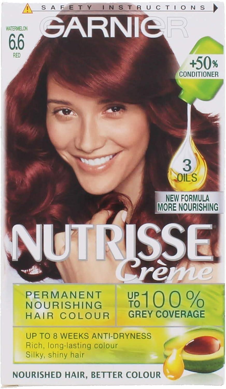 Garnier - Nutrisse Crème - Coloración nutritiva permanente en crema color sandía rojo 6.6