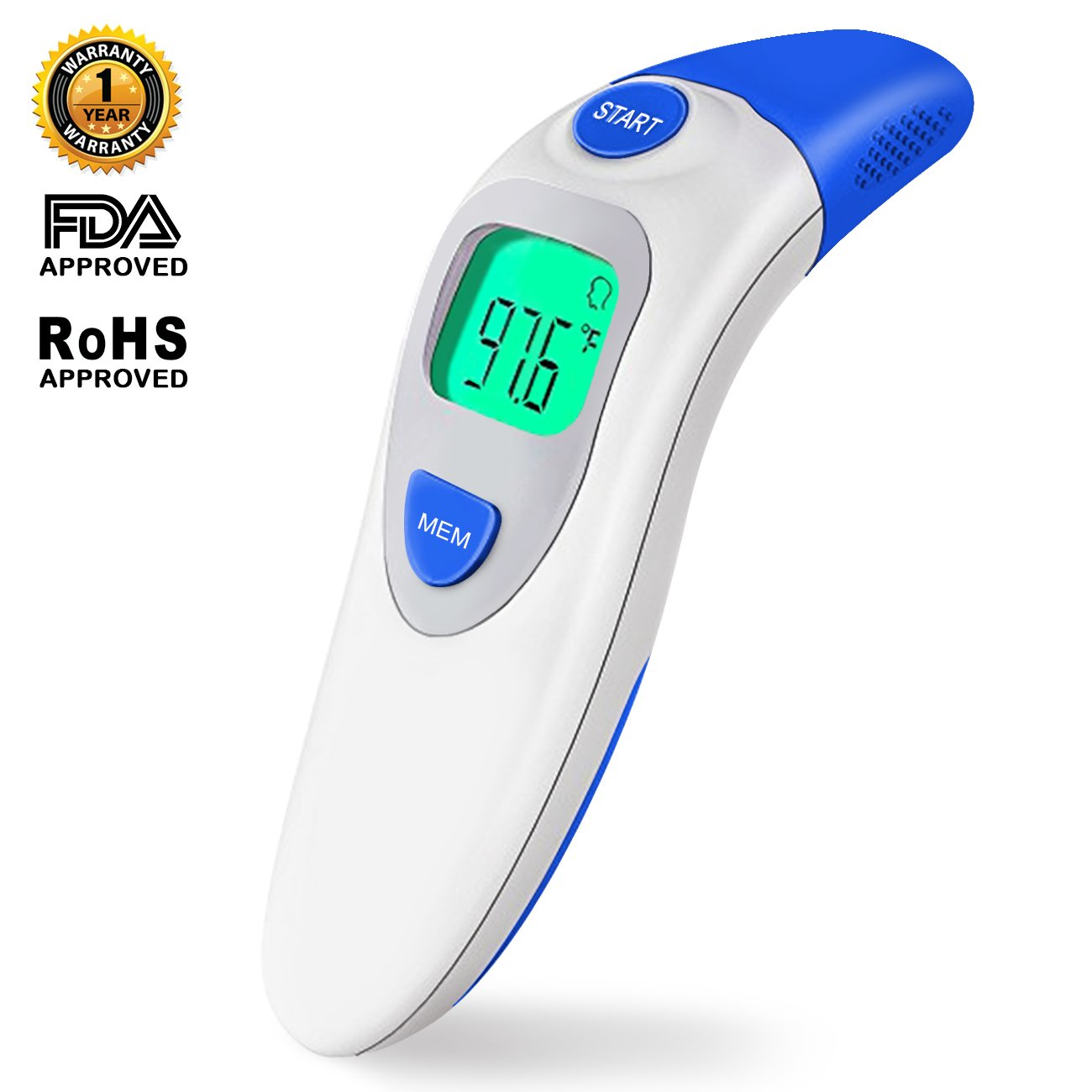 Thermometer for Fever Digital Medical Infrared Forehead and Ear Thermometer Professional Suitable for Baby, Infants, Toddlers, Adults, Objects and Ambient with More Accurate (Blue) by Ailicici