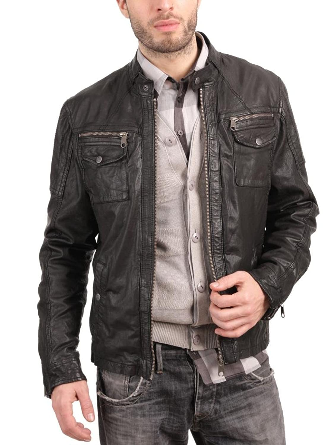 Men Leather Jacket Biker Motorcycle Coat Slim Fit Outwear Jackets AUK022