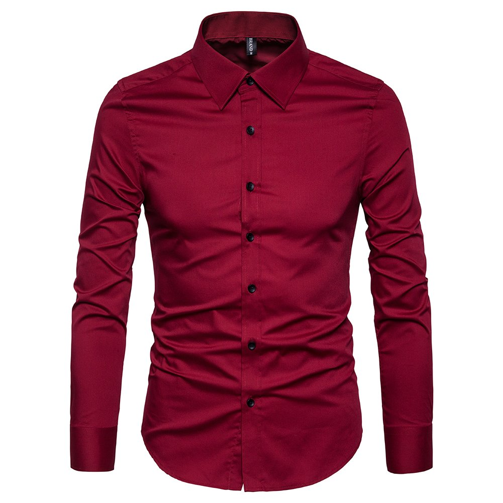 Manwan walk Men's Slim Fit Business Casual Cotton Long Sleeves Solid Button Down Dress Shirts (Large, Wine red)