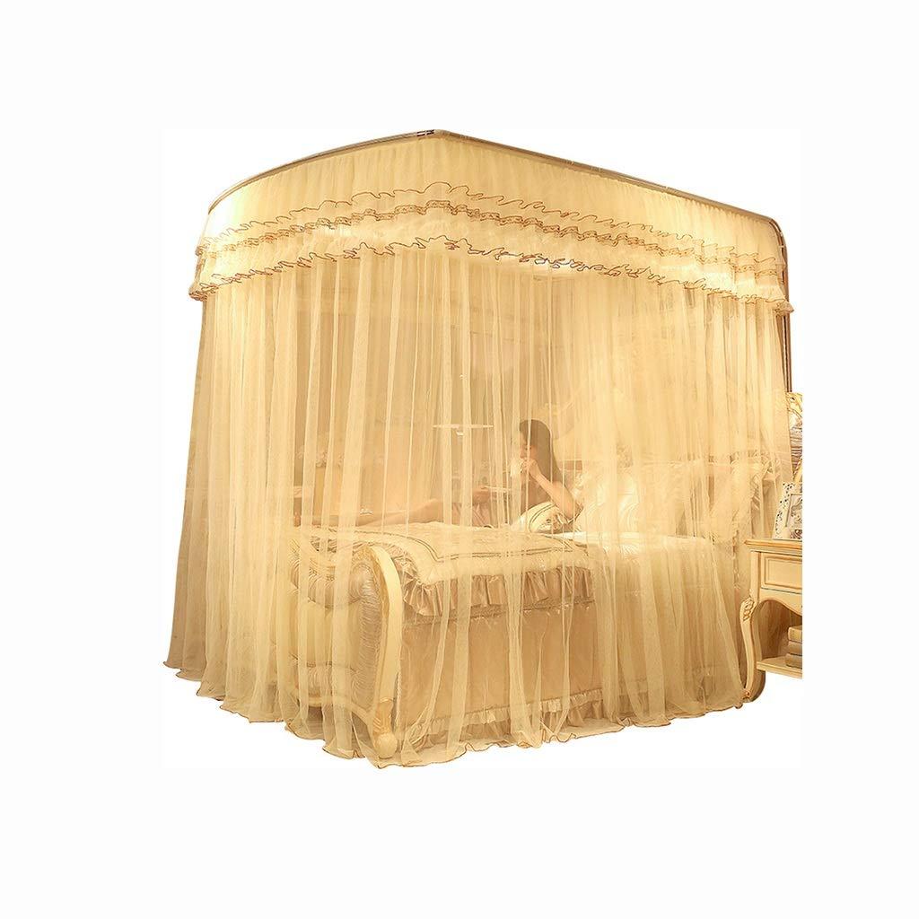 蚊帳新しい伸縮ブラケット王女風蚊帳U 1.5 m家庭用1.8 mベッド暗号化1.2肥厚 (色 : 1, サイズ さいず : 2.0m (6.6ft) bed) 2.0m (6.6ft) bed 1 B07Q1357P7