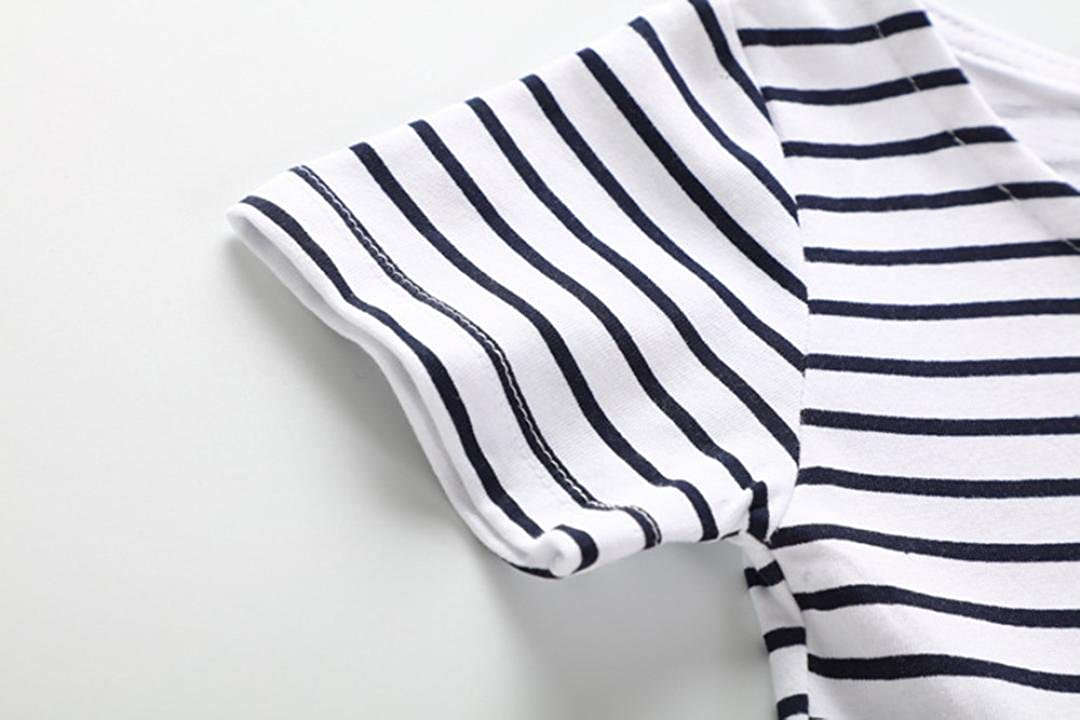 FORESTIME Toddler Baby Kid Girl Pattern Dress Striped Printed Short Sleeved T-Shirt Dress Out Clothes
