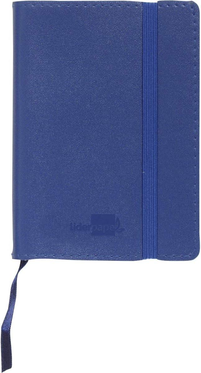 Liderpapel Libreta Simil Piel A6 120 Hojas 70 g/m² Índice Azul