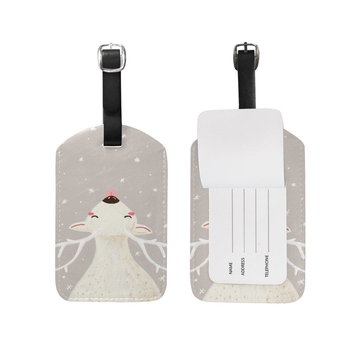 1Pcs Saobao Travel Luggage Tag White Elk PU Leather Baggage Suitcase Travel ID Bag Tag