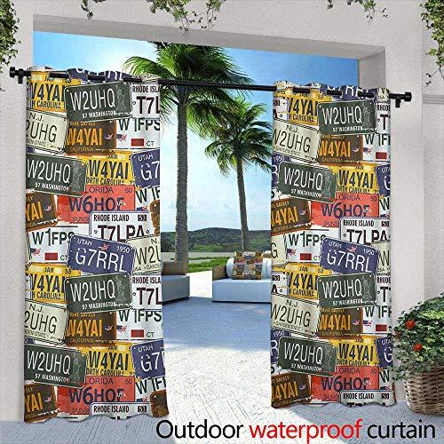 - USA Living Room/Bedroom Window Curtains Retro American Auto License Plates Utah Washington Rhode Island North Carolina Print Embossed Thermal Weaved Blackout 72