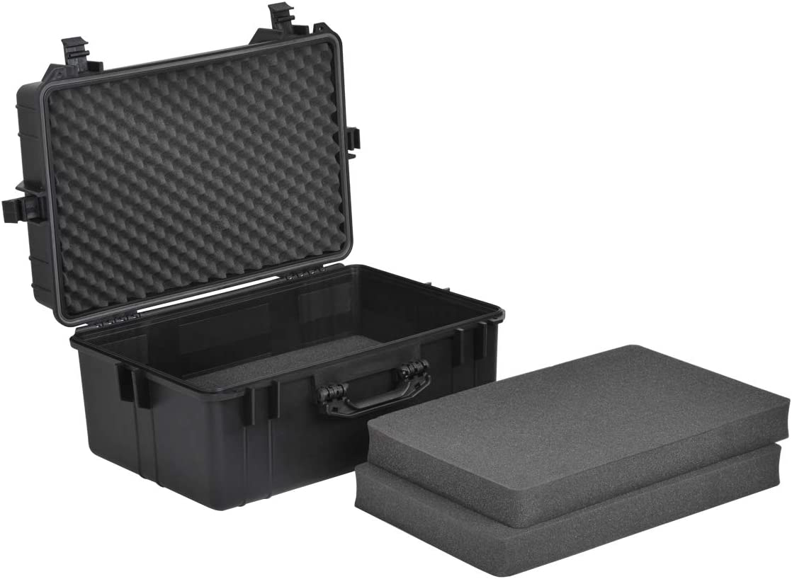 24.01x16.92X12.2 MEIJIA Portable All Weather Waterproof Hard Compact Camera Case with Foam,Fit Use of Drones,Camera,Equipments,Pistols,Elegant Black,