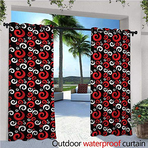 homehot Red and Black Balcony Curtains Modern Pattern with Swirl Shapes and Dots Spirals Abstract Vintage Style Outdoor Patio Curtains Waterproof with Grommets W84 x L84 Red Black White (Spiral Red Peanut)