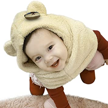 3da0e6e911629 Kids Baby Toddler 2 in 1 Hood Hat Scarf Neckerchiefs Winter Warm Soft Plush Windproof  Hat with Circle Scarf Head Ear Neck Warmer for 1-5 Years