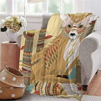 All Season Throw Blanket Enchanted Woodland Creatures Deer with Curved Antlers Foliage Dotted Rocks Pattern Multicolor Dorm Bed Baby Cot Traveling Picnic