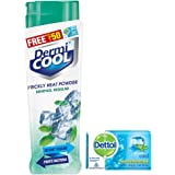 Dermicool Prickly Heat Powder, Menthol, 150 g with Free Dettol Cool Soap, 125g