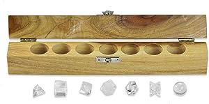 The Masonic Exchange Platonic Solids Quartz Crystal 7 Piece Sacred Geometry Set with Gift Wood Box