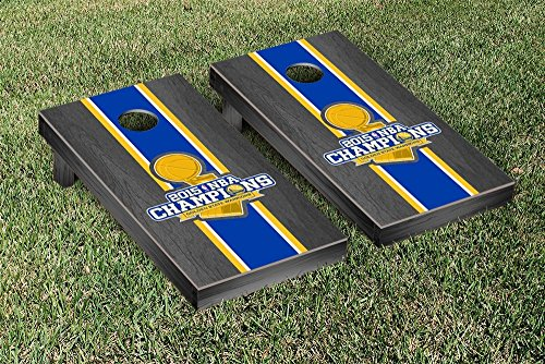 NBA Golden State Warriors 2015 NBA Champions Onyx Stained Stripe Version Cornhole Set by Victory Tailgate