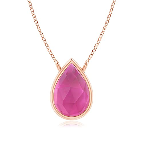 Angara Natural Pink Tourmaline Solitaire Necklace in 14k Rose Gold aYsMxH