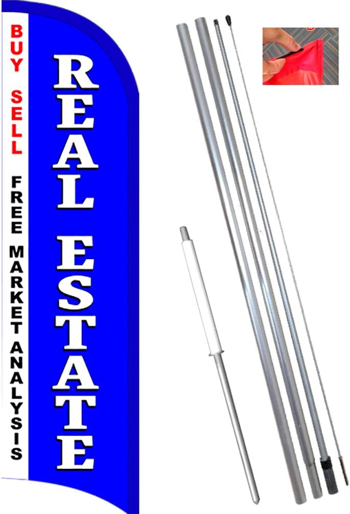 11.5 Tall Flag, 15 Tall Flagpole, Ground Mount Stake Real Estate Windless Feather Flag Bundle