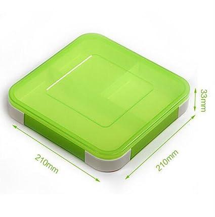 KHSKX Ultra - Delgada Caja De Almuerzo Sellado Partición Square Estudiante Caja Bento Horno Microondas Calefaccion