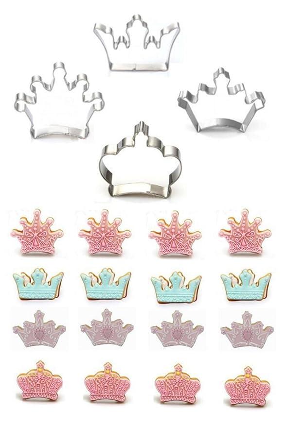 Cortador de galletas, kootips 4 pcs/Set corona rey Reina Príncipe Princesa formas cortador de galletas de acero inoxidable cortador de Fondant: Amazon.es: ...