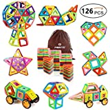 Mibote Magnetic Building Blocks Magnet Tiles Set Educational Stacking Blocks Toys for Toddler Kids 126 Piece