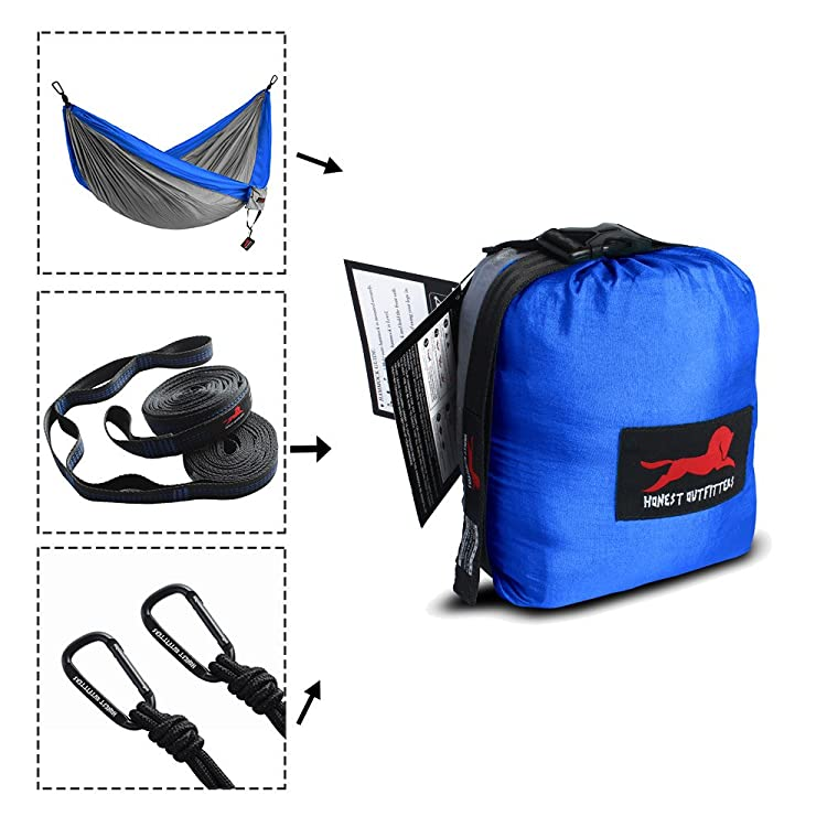 Include a double camping hammocks(118L * 78W inches), two hammock straps (10 feets) and two solid steel carabiners