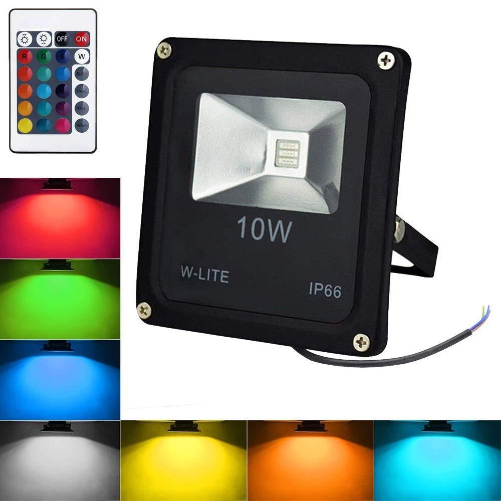 RGB Strahler mit Fernbedienung 10W LED Fluter Farbwechsel Auß enstrahler Scheinwerfer Dimmbar IP66 Wasserdicht fü r Weihnachten, Party (Kein Stecker)