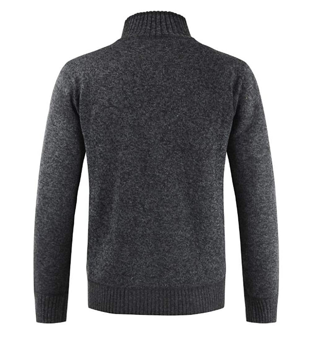 Hajotrawa Men Contrast Basic Sweater Knitted Stand Collar Slim Fit Cardigans