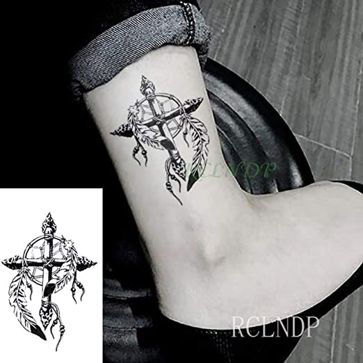 5 Piezas Tatuaje Pegatina Cruz Tribal tótem Tatuaje gyro Cuello ...