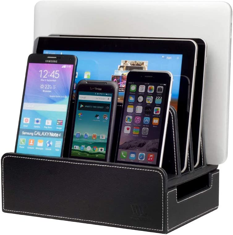 MobileVision Charging Station Slim Black Faux Leather Executive Stand and Docking Organizer for Multiple Devices, Smartphones, Tablets, Laptops