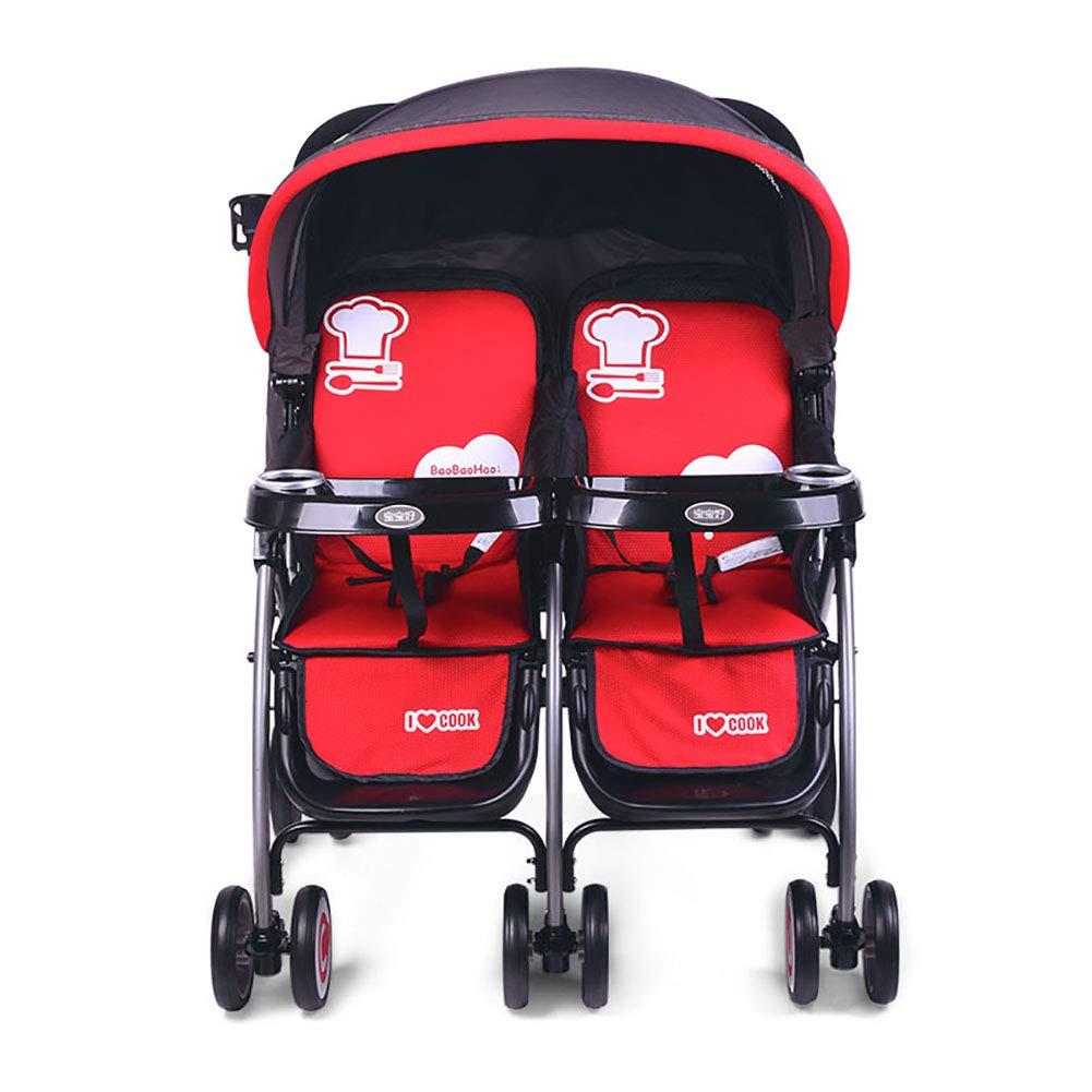 ツインベビーベビーカー軽量折りたたみカートは、新生児ダブルトロリーに座って横になることができます   B07QQ9C3XM