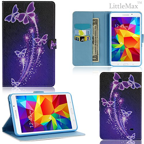 T230 Case - LittleMax(TM) Faux Leather Wallet Smart Case [Magnet Closure] Flip Cover with Auto Wake/Sleep feature for Samsung Galaxy Tab 4 7.0 Inch [Free Cleaning Cloth,Stylus Pen]-Purple Butterflies