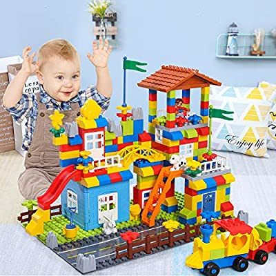TEMI Deluxe 238 Pieces Large Building Blocks Playset, Creativity Building Kit for Toddlers, Construction Funny Toy House and Marble Run Playground, Educational Toy for Preschool Boys and Girls 3 +: Toys & Games