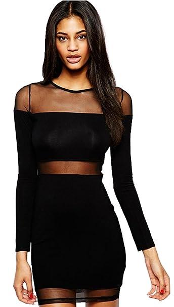 bc37102f7d1b Moda Trasparente Inserti di Rete a Maniche Lunghe Mini Corte Corta Bodycon  Aderente Fasciante Dress Vestito Abito Nero 2XL  Amazon.it  Abbigliamento