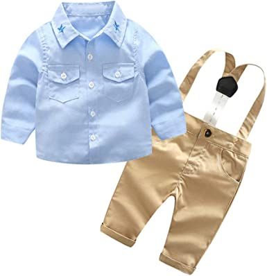 Toddler Boys Dress Shirt Button and Puffer Vest Outfit Set 12 18 24 Months 2T