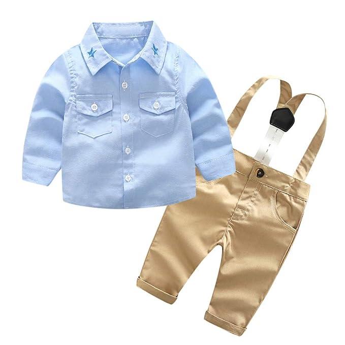 LANSKIRT trajecitos de bebé Recién Nacido Infantil niños Caballero sólido Camiseta Tops + Suspenders Pantalones de