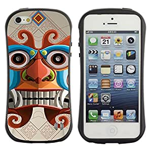 Hybrid Anti-Shock Bumper Case for Apple iPhone 5 5S / Inca Aztec God
