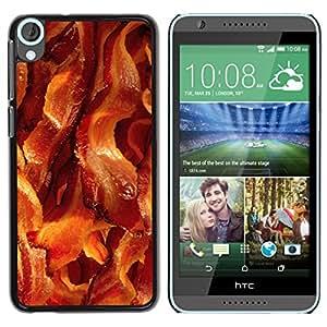 YOYOYO Smartphone Protección Defender Duro Negro Funda Imagen Diseño Carcasa Tapa Case Skin Cover Para HTC Desire 820 - tocino carne de cerdo alimentos marrón crujiente